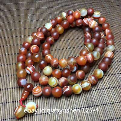 Tibetan Natural Sardonyx Agate Grinding 108Round Beads Fashion Bracelet Necklace
