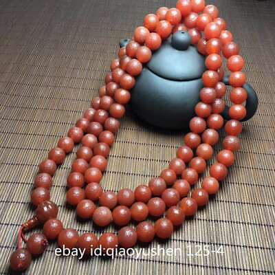 Collect Fine Tibetan Natural Old Agate Carved Round Buddha Beads Bracelet Bangle