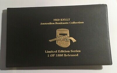 Set of 5 Ned Kelly 24 K 999 Gold Foil Banknote Album, 1,5,10,50 and 100 Pounds