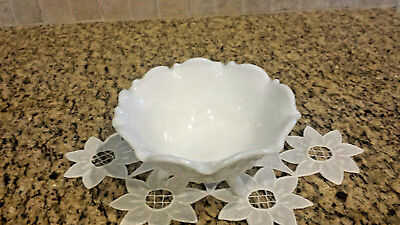 Vintage Hobnail White Milk Glass Footed Ruffled Edge Candy Nut Dish Bowl 3 Leg