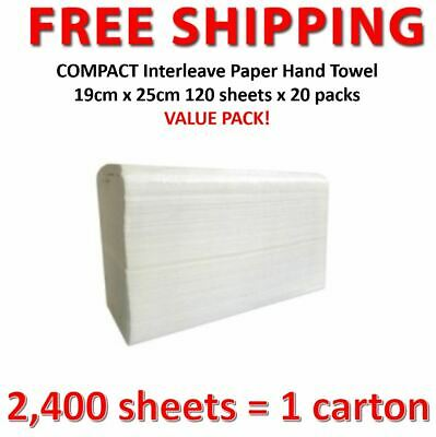 2400 sheets = 1 carton COMPACT Interleave Paper Hand Towel 19cm x 25cm 1 ply