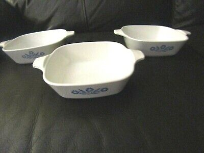 Vintage Corning Ware Cornflower Blue P-41 Petite Pan - Lot of 3 - NO LIDS