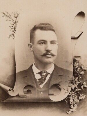 Memorial, Handsome Young Man w/ Mustache, New Hampshire, Antique Cabinet Card