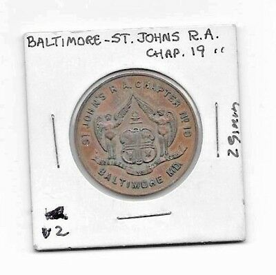 Vintage Baltimore Md St. John's R. A. Chapter Penny Token - Uncirculated