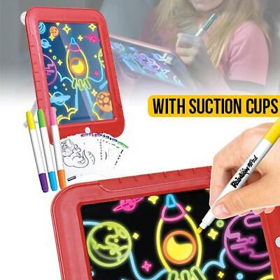 illuminated Light Up Drawing Pad Deluxe - with Markers & Stencils Children Learn