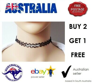 TATTOO CHOKER NECKLACE  Black, Stretchy, Gothic, Hippy - SA & Aust Supplier