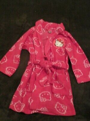 Girls Pink HELLO KITTY Fleece Robe Size 4 Attached Belt Santa Hat