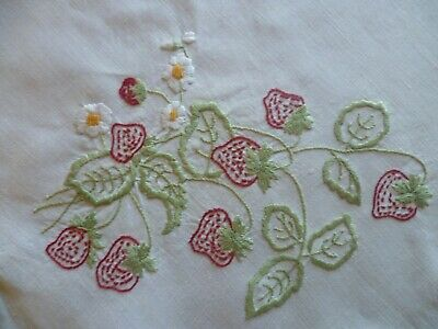 VINTAGE HAND EMBROIDERED STRAWBERRIES & BUTTERFLIES SUPPER CLOTH  81 x 84 cms