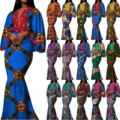 African Women Cotton Party Dress Bazin Riche Ankara Wax Print Cape Robe Vestidos