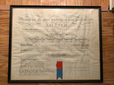 University of Pennsylvania Diploma Doctorate School circa 1913 Antique