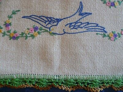 Vintage Hand Embroidered Blu Bird Cushion Cover Hand Crocheted Edges Excellent