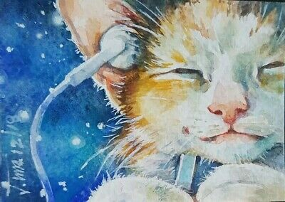 Cat Original ACEO Painting Art Collect Gift Card HBD Music Listen Blue Happy