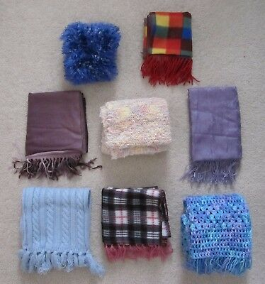 Pre-Owned Lot of 8 Homemade Scarves Assorted Colors Designs Patterns Mixed Sizes