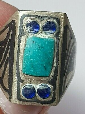 Exeptional Extremely Rare Medieval Silvered Ring Superb Rare Stones.10,3 Gr.19Mm