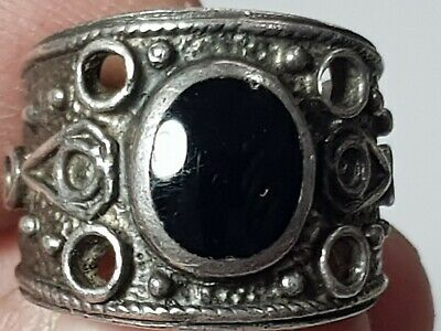 Stunning Extremely Rare Late Medieval Silver Ring Rare Stone.9,6 Gr17 Mm