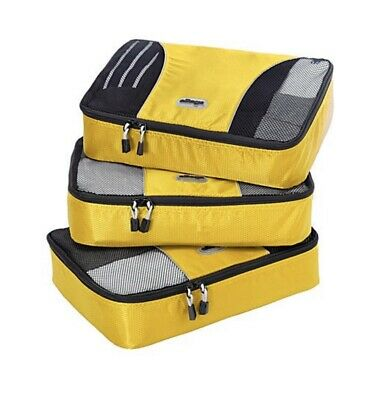 eBags Small Classic Packing Cubes - 3pc Travel Organizer Set in Yellow NEW