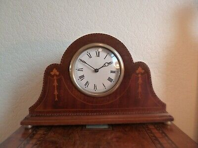 Beautiful Edwardian Clock-Mahogany Cased With Fruitwood Marquetry-Fully Working