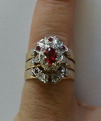 9ct gold ring set with ruby and diamond