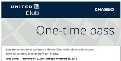 One 1 United Airlines Club Airport Lounge One-Day Pass E-Delivery Exp 11/19/2019