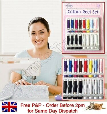 32Pc Cotton Reel & Bobbin Set Assorted Colour Spool Thread Sewing Needle Machine