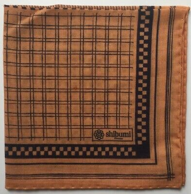 "SHIBUMI Firenze Wool Silk Printed Pocket Square, Brand New, 15""x15"" Brown Tan"