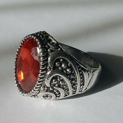 Stunning Top Quality Post Medieval Silver Ring With A red Stone