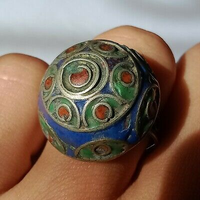 Ancient Roman Silver Ring With Rare Colored Stone