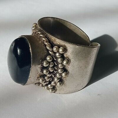 Ancient Roman Silver Ring With Rare Black Stone