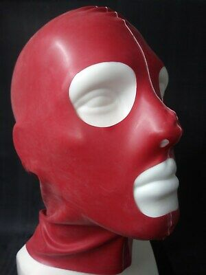 """ LATEXVERTRIEB ""  Latexmaske "" alles offen ""  rot in Gr. M"