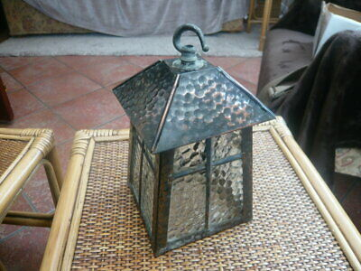 Vintage Old 1960,S Porch Lantern Lamp Light Fitting Shade Coppered Metal & Glass