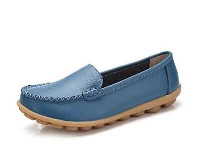 Women Flat Shoes Loafers Leather Casual Moccasins Soft Sole Shoes for Driving Wa