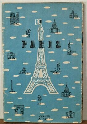 1954 Paris France travel brochure with metro, bus and fold out city map b