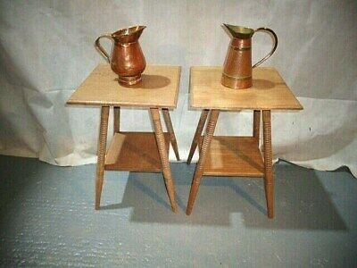 ANTIQUE ARTS & CRAFTS PAIR of WILLIAM BIRCH LIBERTY TABLES SOFA TABLE LAMP TABLE