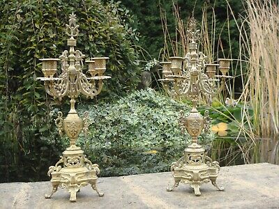 Pair Baroque rococo style French Brass/Bronze Candelabra Candle sticks/holders