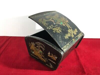 Vintage Metal Asian Japanese Jewellery or Trinket Box - 100x95x54mm - a591