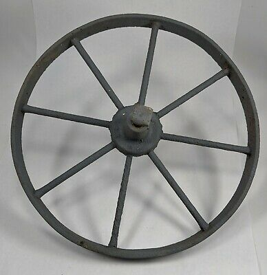 "Antique Primitive Cast Iron Industrial Wagon Wheel Steampunk 15"" Diameter"