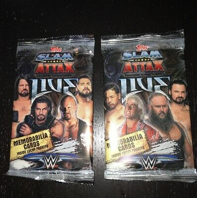 Two Brand New Sealed Packs Of Topps Slam Attax Live WWE Cards