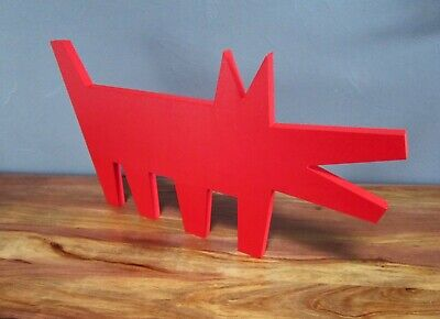 Sculpture Pop Art Red Dog Keith Haring