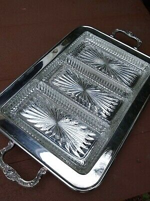 Leonard Quality Silverplate Footed Serving Tray with 3 Glass Inserts (NIB)