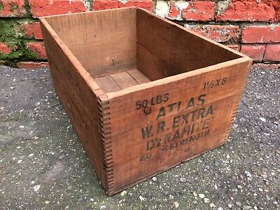 Vtg Atlas Powder Co. Finger-joined Wood Explosives Extra Dynamite Crate Box