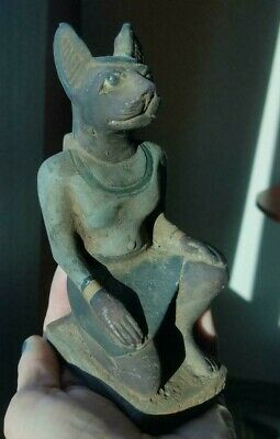 Antique Egyptian Cat Figure Bastet Sandstone? Polychrome faience? Poss Early