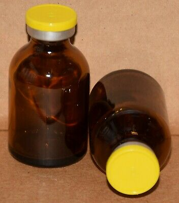 USP 30 mL Amber Sterile Vial With Yellow Plain Flip Off Seal ANY QTY