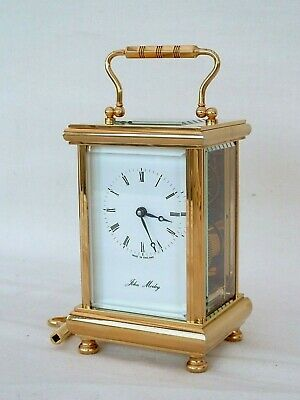 Superb John Morley 8 Day Gold Plated Carriage Mantel Mantle Clock