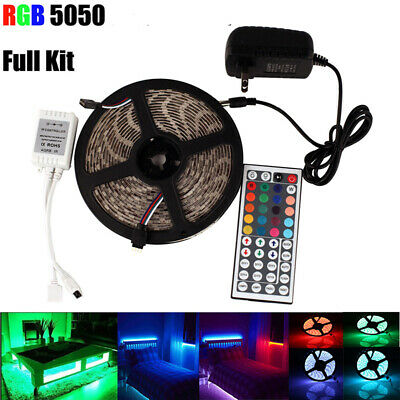 5M 10M 5050 RGB LED STRIP LIGHTS COLOUR CHANGING TAPE LIGHTING + Remote + Power