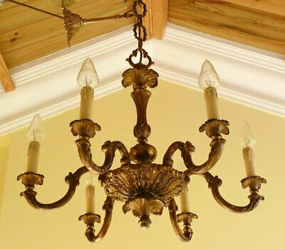 Vintage Brass French Rococo Baroque Chandelier Ceiling light Ready to hang