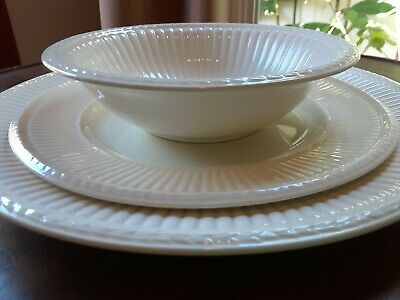 Lot of 3 Vntg WEDGWOOD EDME DINNER Salad PLATE Cereal Bowl Green Stamp England