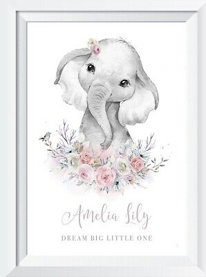 Personalised baby girl elephant  print picture gift nursery wallart safari anima