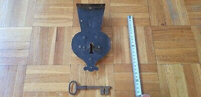 Antique Vintage Door Lock Mechanism With Key Latch Forged Cast Iron Primitive