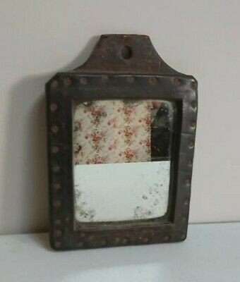 Beautiful Antique LEATHER wooden wall mirror country house FOXED small vintage