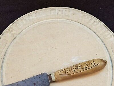 """Antique Carved Wooden """"Peace & Plenty"""" Chopping Board & Bread Knife FREE UK P&P"""